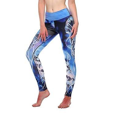 Overmal Femme Eté Sexy Impression Taille Haute Maigre Pantalon Legging  Originaux Décontracté Sport Yoga Trousers de 4ad483d0c12