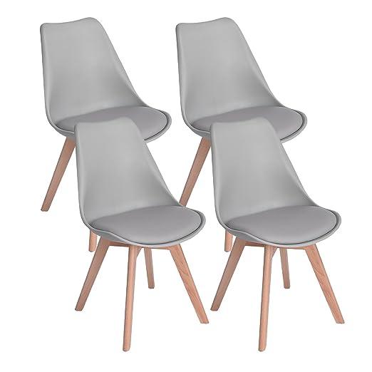 DORAFAIR Pack 4 sillas escandinava Estilo nórdico Silla de Comedor, con Las piernas de Madera de Haya Maciza y cojín cómoda,Gris