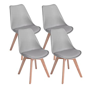 Fantastic Dorafair Set Of 4 Tulip Modern Design Dining Chairs Retro Lounge Chairs With Solid Wood Beech Legs Kitchen Chairs With Padded Seat Grey Caraccident5 Cool Chair Designs And Ideas Caraccident5Info
