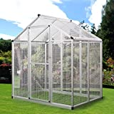 JAXPETY 76.8'' H Large White Aluminum Heavy Duty Bird Cage Play Top Parrot Cockatiel Macare Parakeets Finch Walk In Aviary Pet House