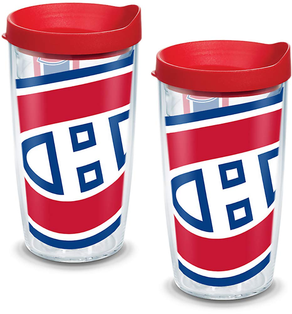 Tervis 1105131'NHL Mon Canadiens Colos' Tumbler with Red Lid, Wrap, 16 oz, Clear