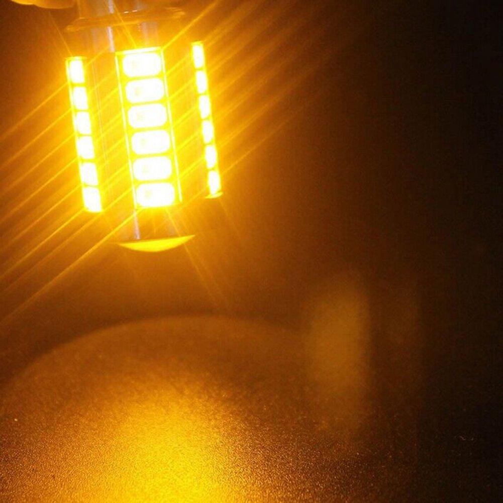 KaTur 4pcs 1157 BAY15D 5630 33-SMD Amber 900 Lumens Super Bright LED Turn Tail Brake Stop Signal Light Lamp Bulb 12V 3.6W