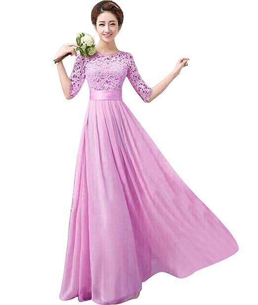 Amazon.com: Vakind® Women Lace Chiffon Prom Ball Party Dress ...