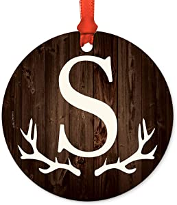 Andaz Press Round Metal Keepsake Ornament, Rustic Wood Deer Antlers Monogram Initial Letter S, 1-Pack, Wedding Bridesmaid's Gifts, Family Christmas Tree, Includes Ribbon and Gift Bag