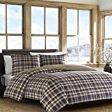 3 Piece Grey Blue Grey Plaid Tartan Duvet Cover King Set, Brown Tan Cabin Themed Bedding Squares Red Green Multi Checked Pattern Lodge Outdoors Country, Reversible, Percale Cotton