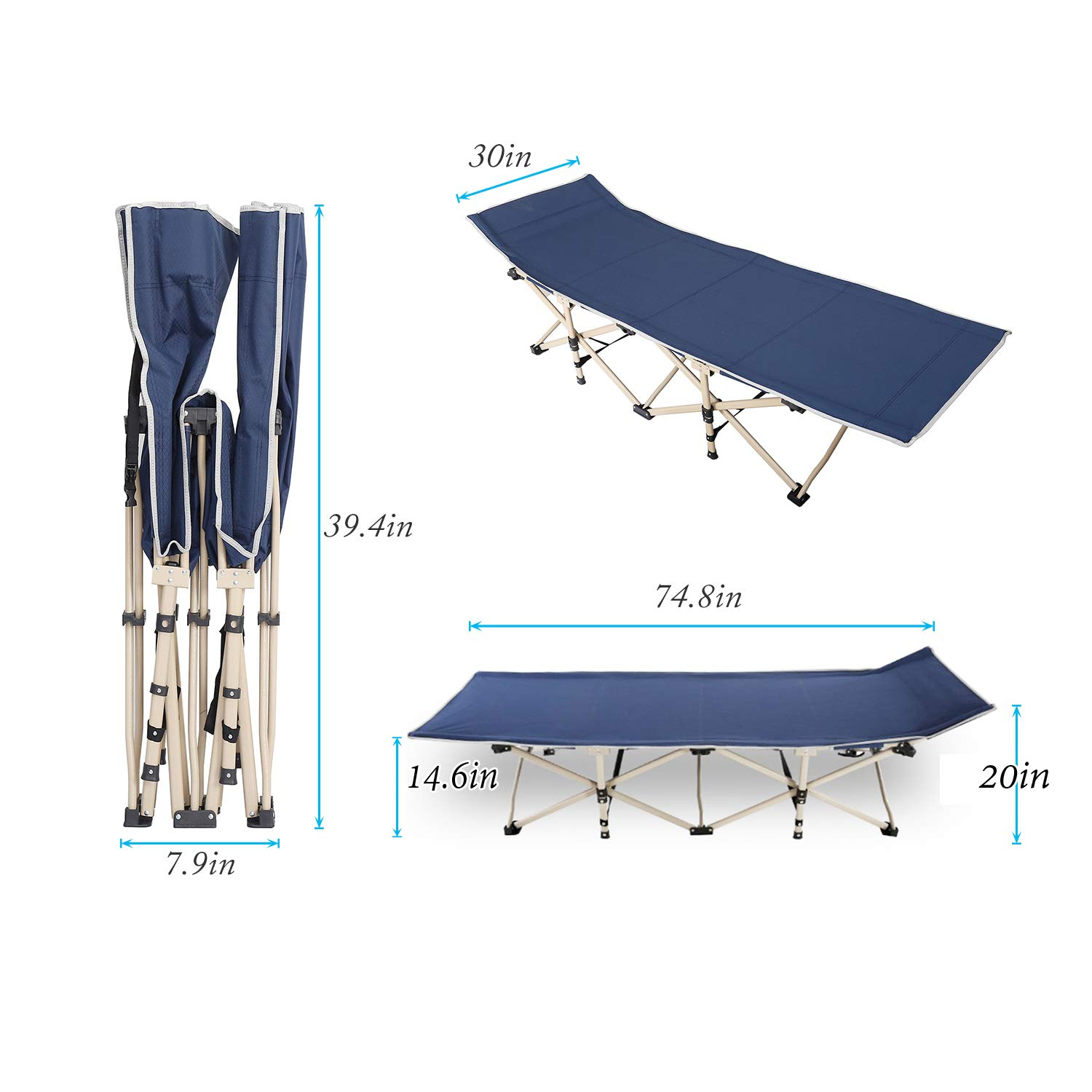 Navy Blue CT-F10-71M-SH Made of Double Layers 600D Oxford SogesHome Folding Camping Cot Portable Outdoor Folding Bed Cot with Side Bag and Pillow Gray