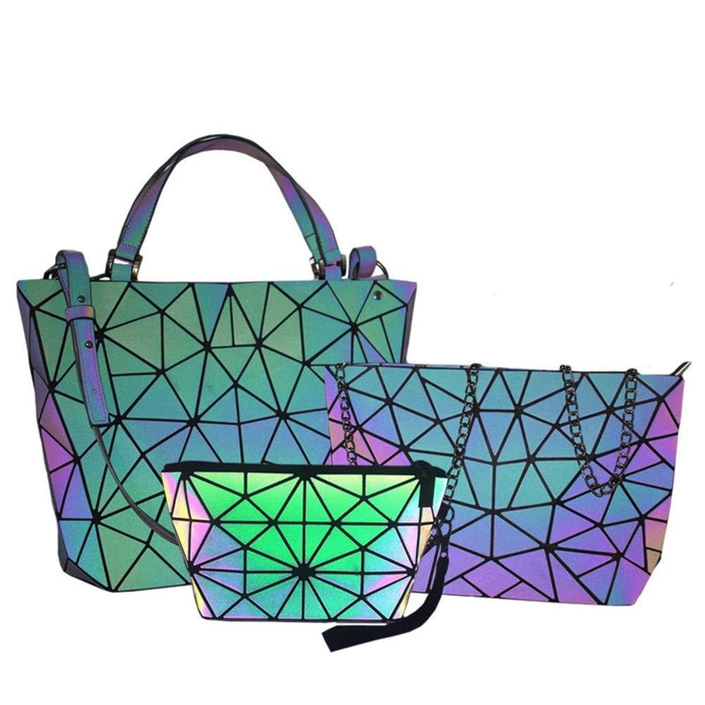 ZYSTMCQZ 2020 nya kvinnor axelremsväska handväska Set Geometry Folding Luminous Handbag Bag 3PCS lyxiga väskor Kvinna Messenger (Color : Luminous Handbag) Luminous 3Pcs A