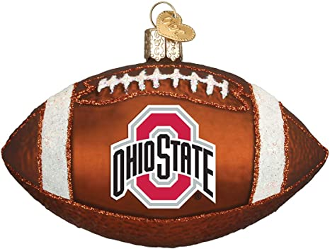 Old World Christmas Ohio State Buckeyes Stocking Mouth Blown Glass Ornament