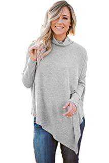 0fa13b079c8f Kei Tomlison Women Soft Faux Poncho High Neck Sweater Batwing Sleeve Casual Pullover  Tops
