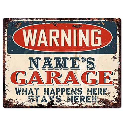 Personalized Tin Signs - Chic Sign WARNING NAME'S GARAGE Custom Personalized Tin Rustic Vintage style Retro Kitchen Bar Pub Coffee Shop Decor 9