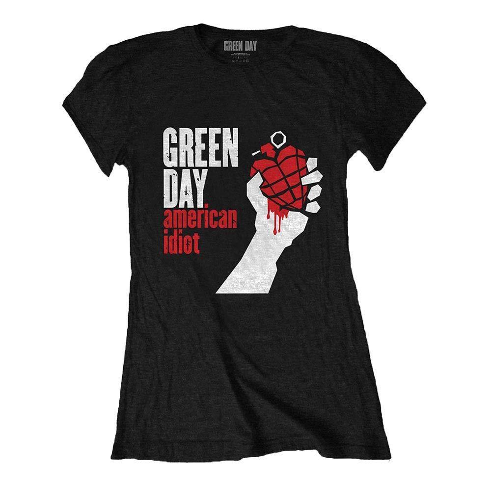 Green Day Maglietta Aderente Nera American Idiot da Donna