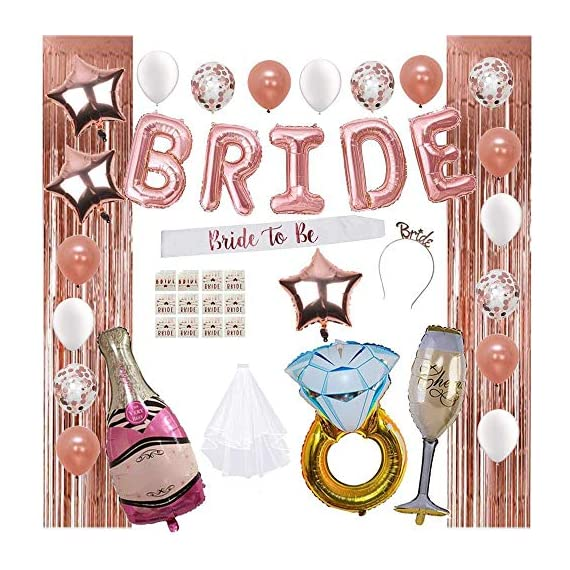 - 61Rl4oqqLjL - Bridal Shower Decorations by Serene Selection, Bachelorette Party Supplies, Rose Gold, White, Confetti Balloons, Fringe Curtain Backdrop, Bride to be Sash, Veil, Bride & Bride Tribe Tattoo