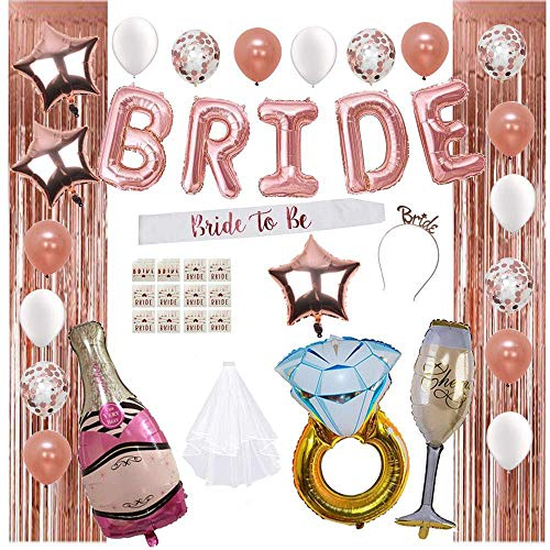 Bridal Shower Decorations by Serene Selection, Bachelorette Party Supplies, Rose Gold, White, Confetti Balloons, Fringe Curtain Backdrop, Bride to be Sash, Veil, Bride & Bride Tribe Tattoo