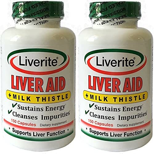 Liverite Liver Aid with Milk Thistle 2-Pack 150 Capsules (Total 300), Liver Support, Liver Cleanse, Liver Care, Improves Energy