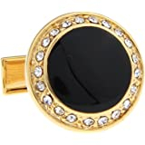 New Gold-Tone Round Rhinestone and Black Onyx Cufflinks with Lots of Bling