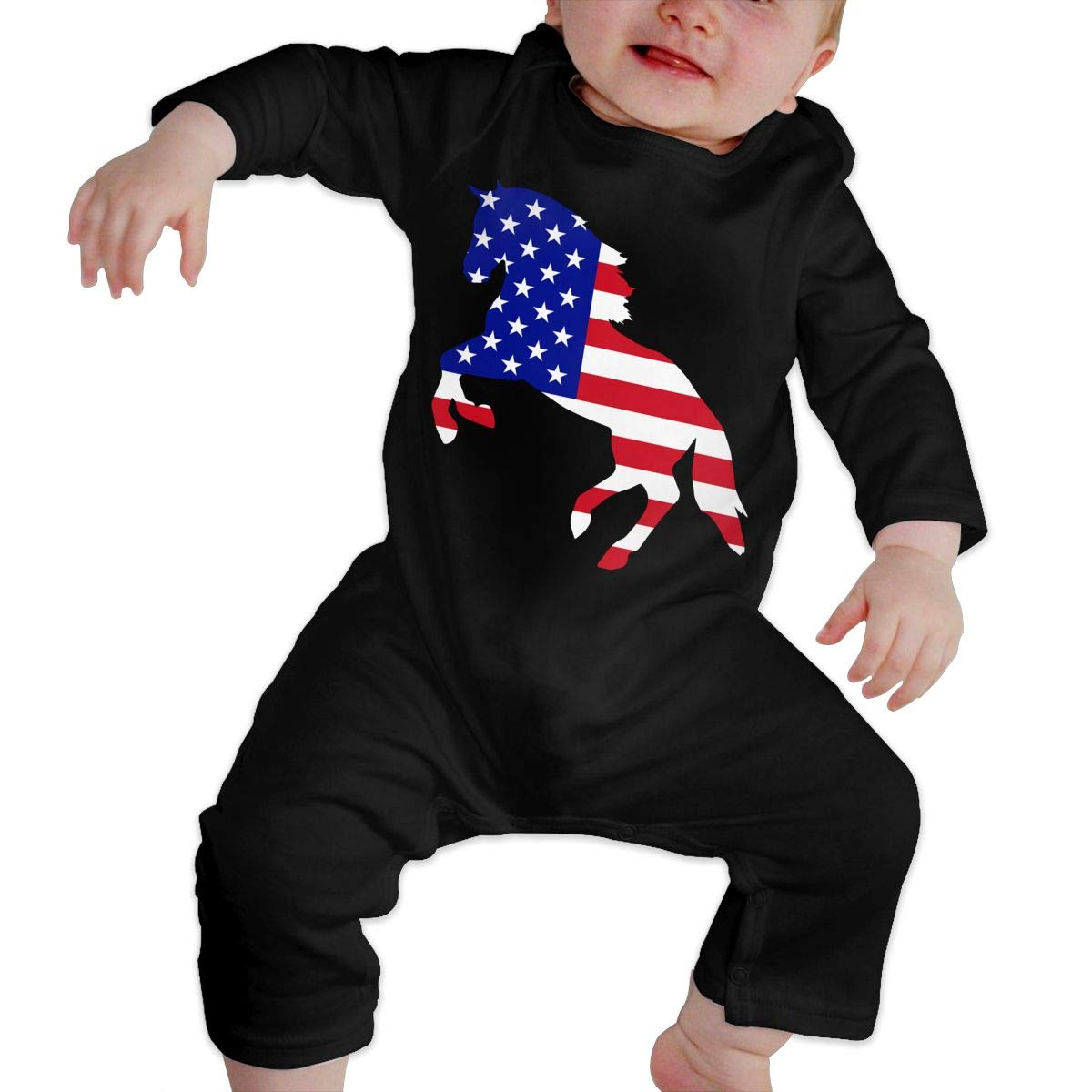 Fashion Horse Lover Gift Patriotic American Flag Playsuit U99oi-9 Long Sleeve Cotton Rompers for Unisex Baby