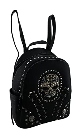 Embroidered Skull Small Studded Leather Texture Backpack w Stitch Details dc6368fe5ae32