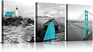 Lighthouse Decor Ocean Wall Decor Seascape Blue Painting Office Pictures for Wall Teal Coastal Golden Gate Bridge Grey Turquoise Bathroom Wall Art Bedroom Living Room Home Decor Nautical Wall Decor 16x24inchx3pcs