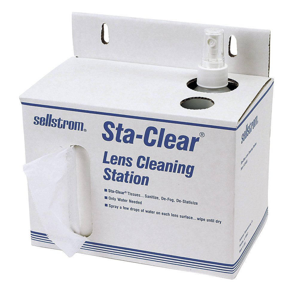 Sellstrom S23469 Sta-Clear Safety Glass, Disposable Lens Cleaning Station, Water Pump, 1000 Tissues
