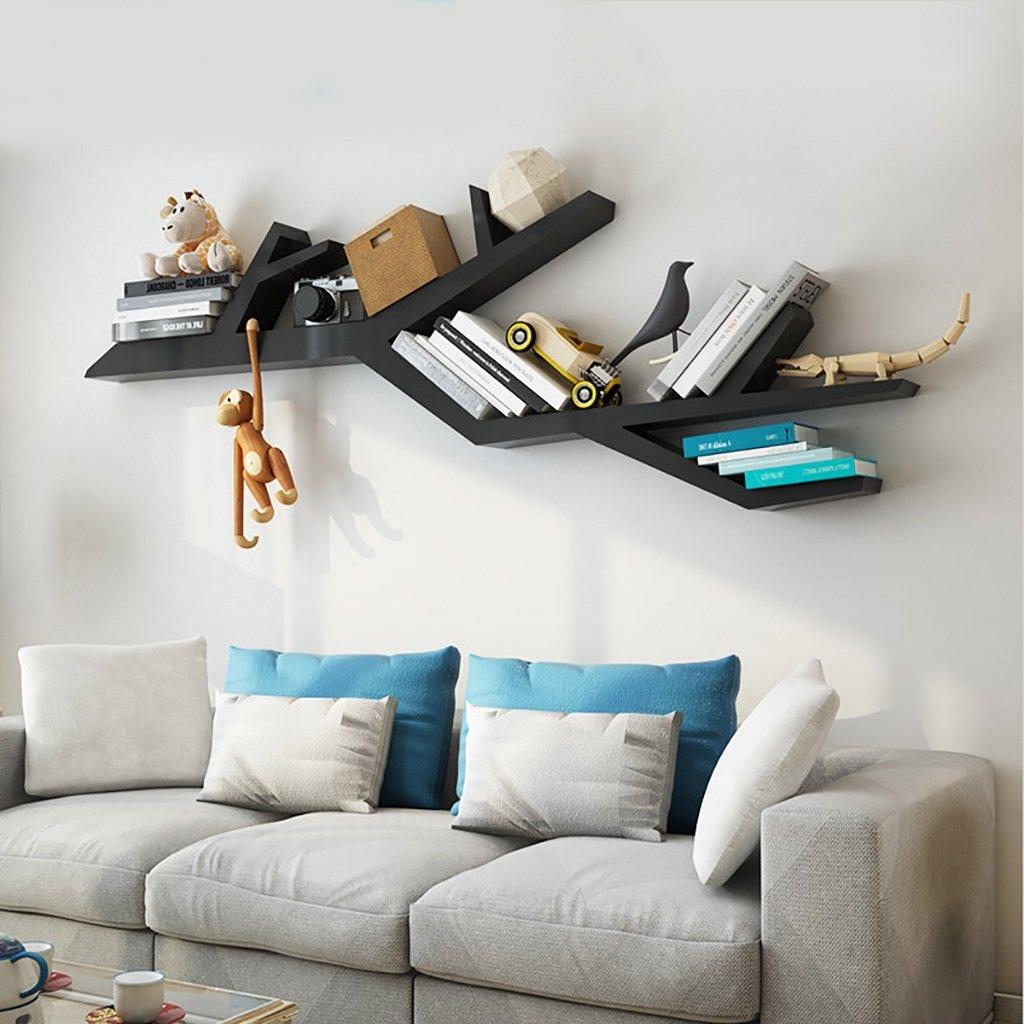 ウォールシェルフクリエイティブウォールテレビ壁壁装飾棚棚頑丈な木製の本棚 (色 : 黒) B07GTFHZ94 黒