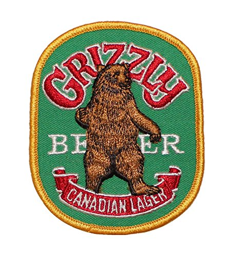 Grizzly Beer Canadian Lager Embroidered Iron On Patch (Canadian Lager)