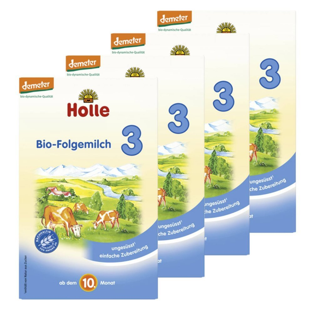 Holle Bio-Folgemilch 3 ab dem 10. Monat - 4er Pack (4 x 600g)