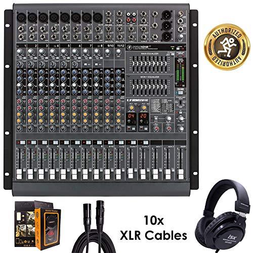 (Mackie PPM1012 12-Channel, 1600-Watt Powered Desktop Mixer Bundle w/Headphone, 10 XLR Cables, Free Mobile Bracket)