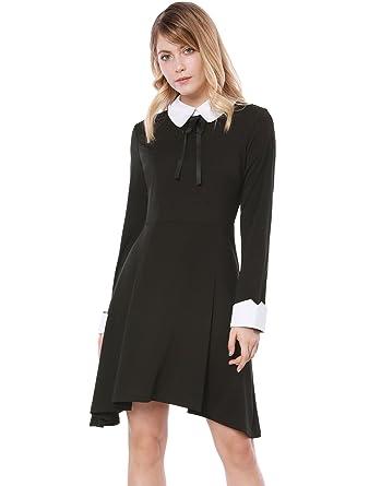 197410eda6916a Allegra K Women's Peter Pan Collar Irregular Hem Above Knee A Line Dress XS  Black