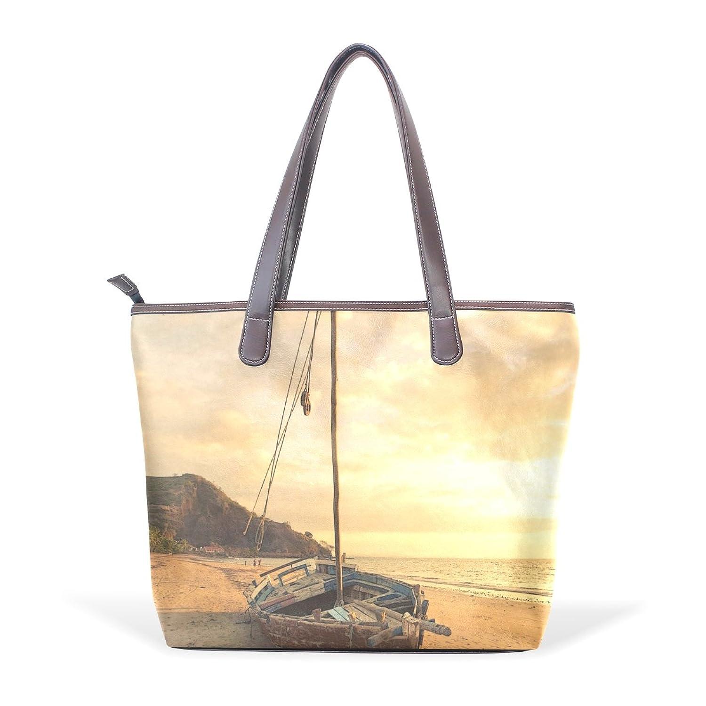 Womens Leather Tote Bag,Retro Boat Sunset,Large Handbag