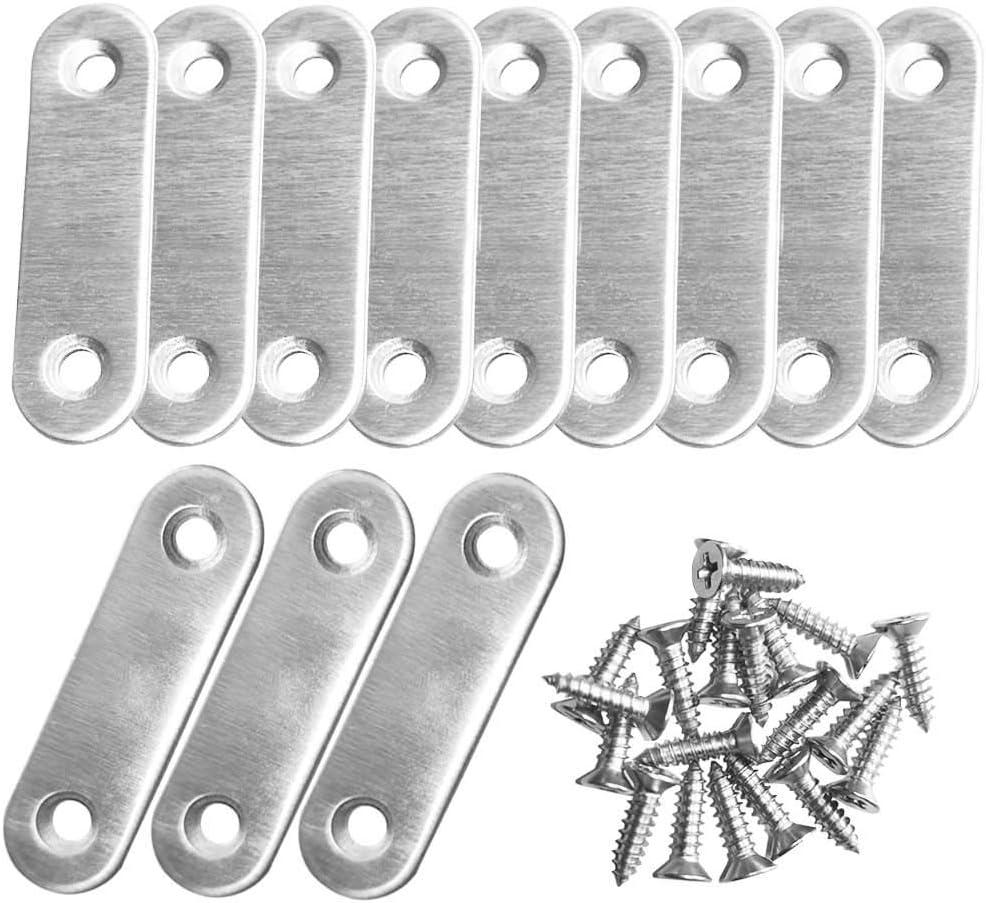 Silberfarben LUCY WEI 12 St/ück Edelstahl Flache Ecke Bracket,Flachverbinder Brackets mit 2 L/öchern,Flache Platte Halterung mit 40 Schrauben