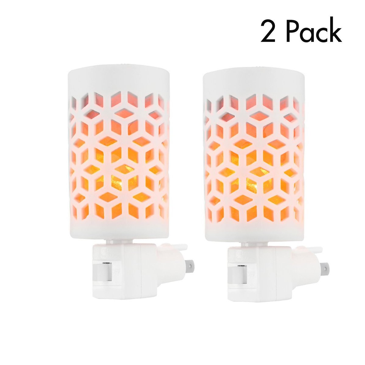 Hisoo Salt Lamp, Natural Himalayan Crystal Salt Rock Lamp with Salt Chunks in Ceramic Basket Wall Plug Night Light for Air Purifying,Home Decor(Yellow-Ceramic-lamp, 2 pack)