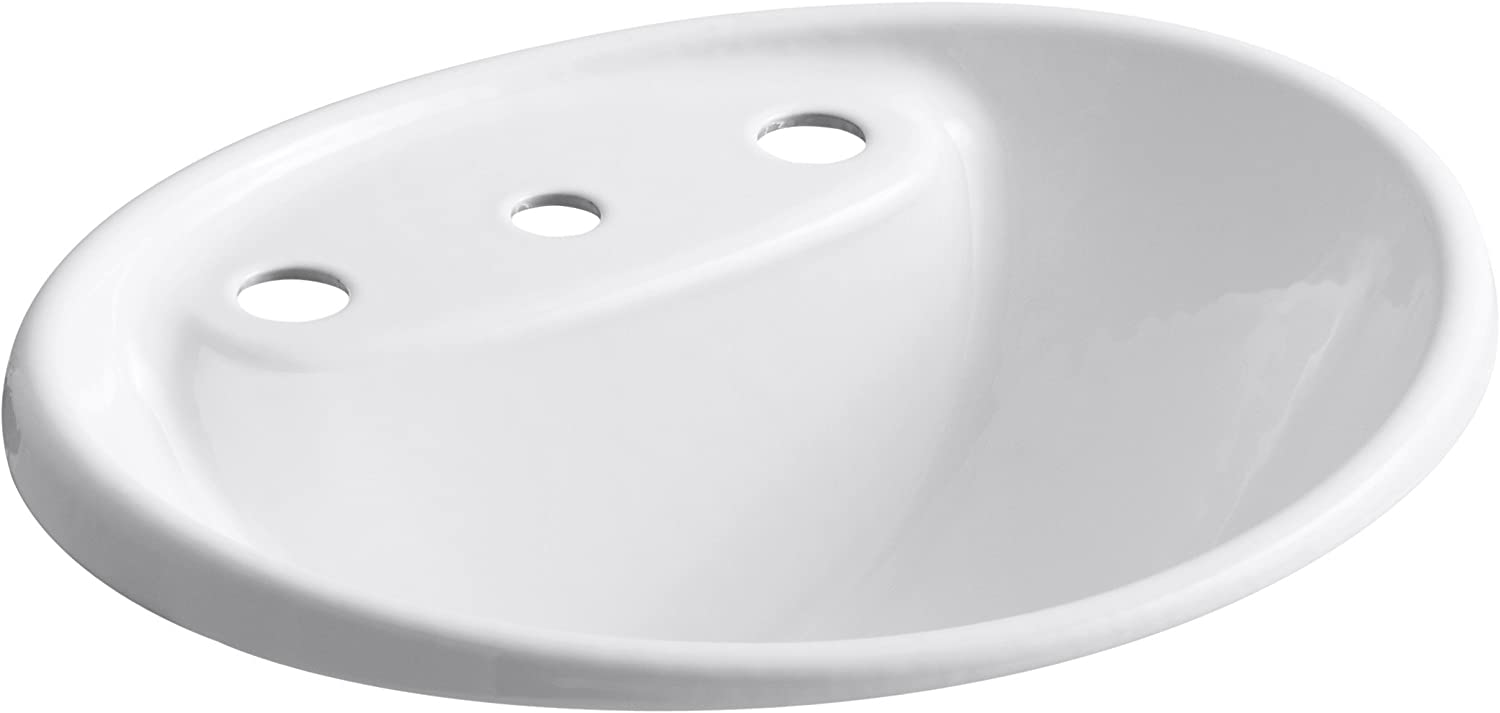 Kohler K-2839-8-0 Cast Iron Drop-In Oval Bathroom Sink, 21.875 x 19.25 x 11.625 inches, White