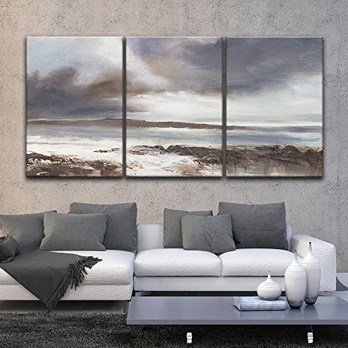 3 Panel Oil Painting Style Coastal Landscape Gallery x 3 Panels