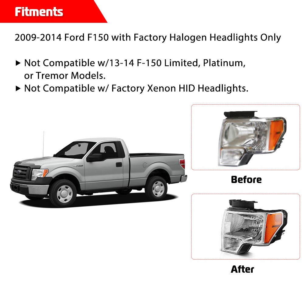 15034930 Replacement Headlights for Chevrolet GMC Pickup Silverado Front Passenger and Driver Side Headlamps with Chrome Housing Clear Lens Replace # 15034929