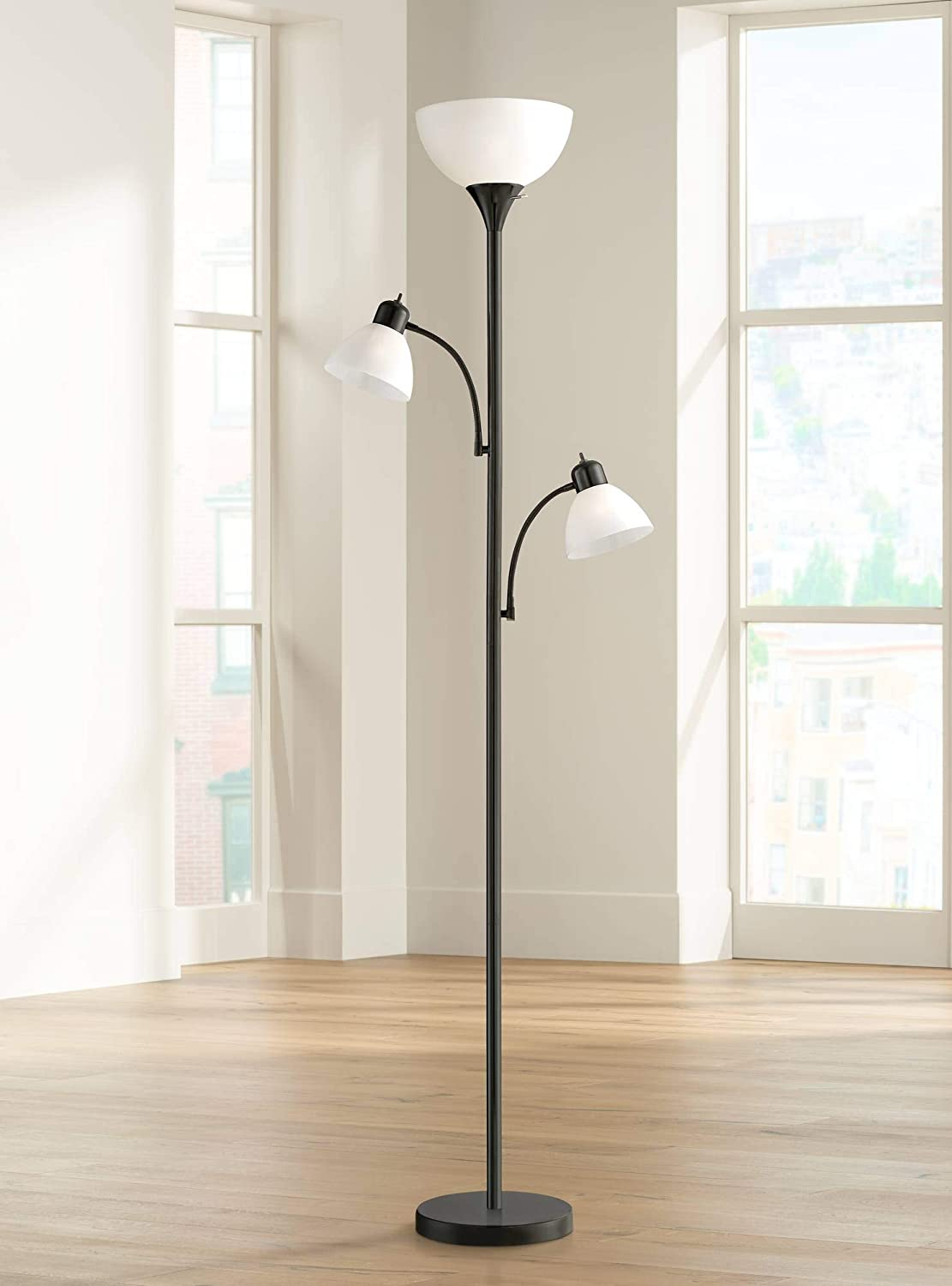 Bingham Modern Torchiere Floor Lamp 3-Light Tree Black Metal White Shades for Living Room Reading Bedroom Office Uplight – 360 Lighting