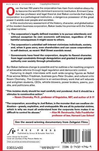 JOEL BAKAN THE CORPORATION PDF