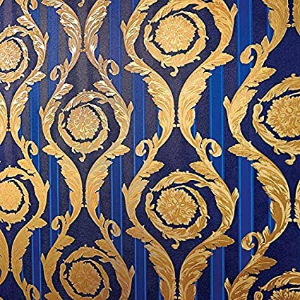 Versace Barocco And Stripes Designer Wallpaper In Royal Blue And