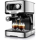 Máquina de café espresso de 20 bar con espumador de leche varita, 1450 W de alto rendimiento sin fugas 1,25 litros extraíble