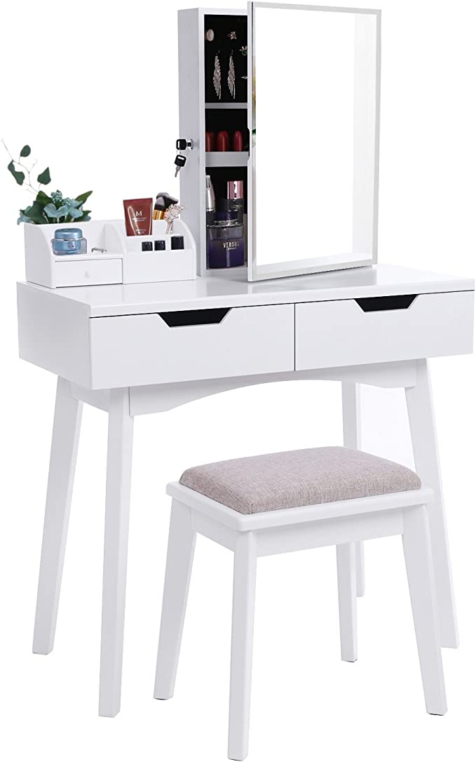 Bewishome Vanity Set White Makeup Table Cushioned Stool Lockable Jewelry Storage Cabinet With Mirror Dressing Desk Armoire Organizer 2 Sliding Drawers Fst04w
