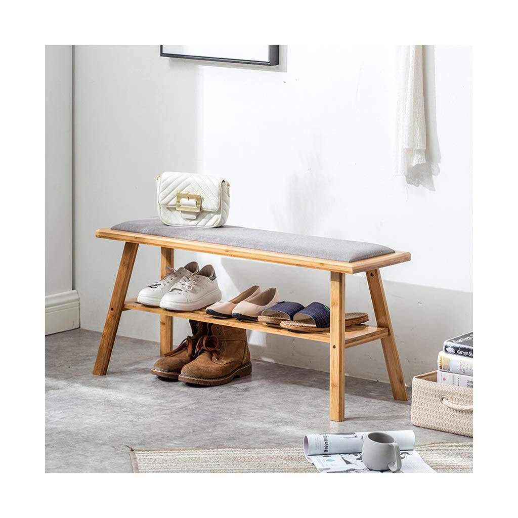STAR-LIFE Solid Wood Storage Shoes Bench Nordic Home Entrance Shoe Cabinet, Comfortable Cotton Linen Soft Cushion (Color : Wood Color, Size : 90cm)