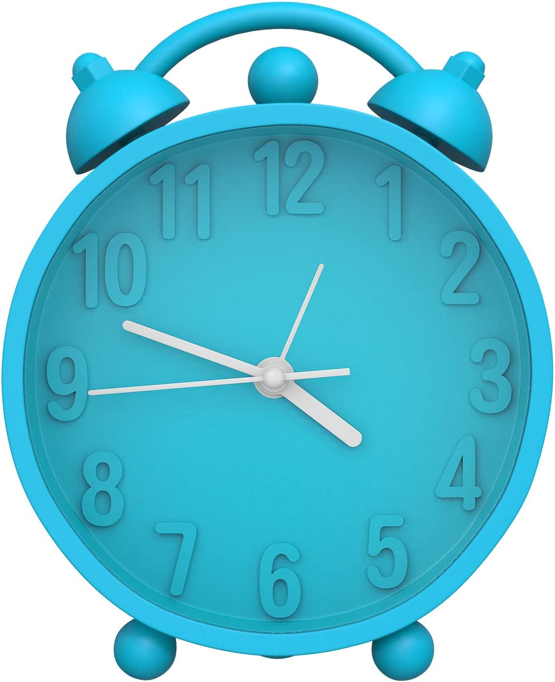 MoKo Despertador de Doble Campana, Alarma Digital Clásicos de Silicona Suave de Escritorio, Alimentado por Batería(No Incluido) - Azul