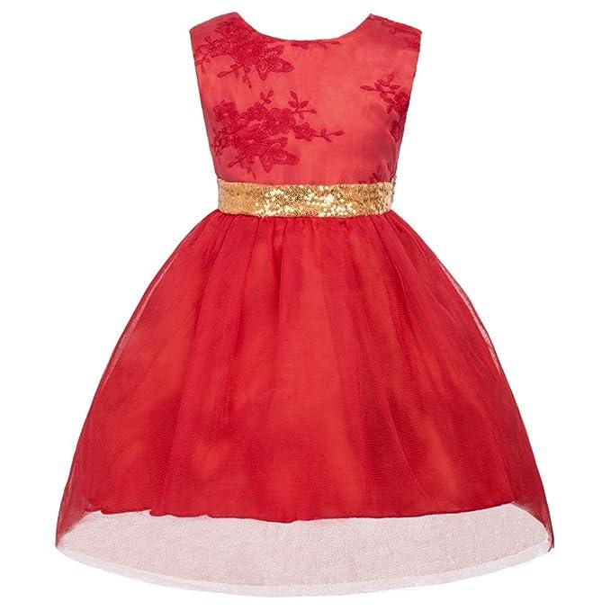 GRACE KARIN Niñas Vestido de Princesa sin Mangas de Fiesta de Boda 90cm CLAM1025-1