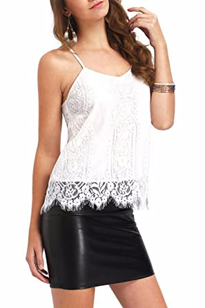 df5e30546fd95 Unomatch Women White Lace Top With Strap Style Blouse (X-Small, White)