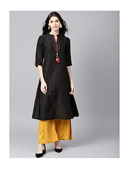 cea7014d1a466 Amazon.com  Hiral Designer Plus Size Indian kurti for Women Black Solid A-Line  Kurta Cotton Dresses  Clothing