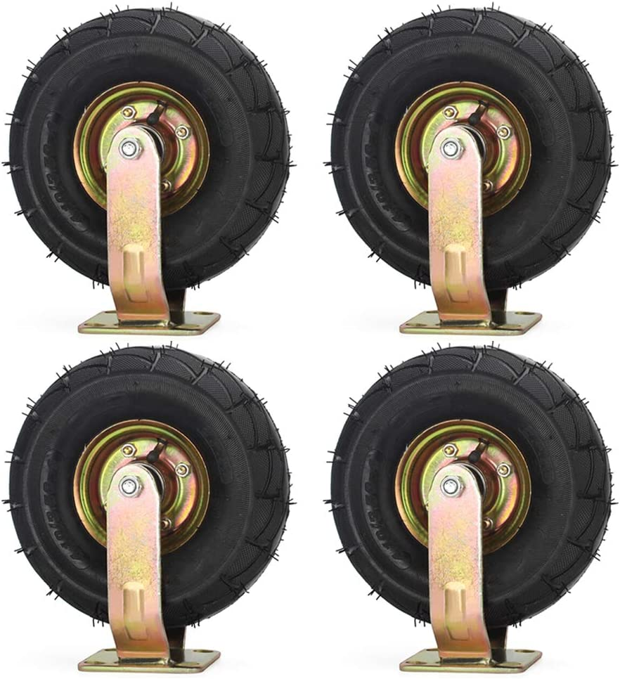 4 pcs Casters HXBH Heavy-Duty Inflatable 6 inches//8 inches//10 inches Universal Wheels Silent Industrial Trolley Rubber Wheels