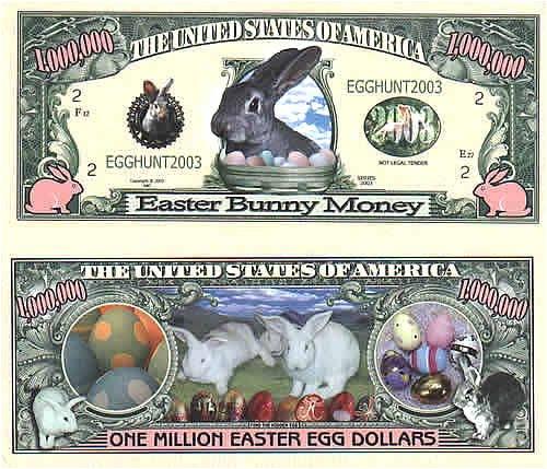 Set of 10 Bills-Easter Bunny Million Dollar Bill]()