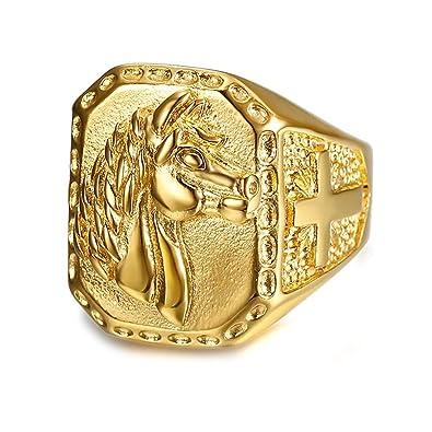 e58975fb3b0 BOBIJOO Jewelry - Grosse Chevalière Bague Homme Tête de Cheval Acier INOX Plaqué  Or Croix Voyageur