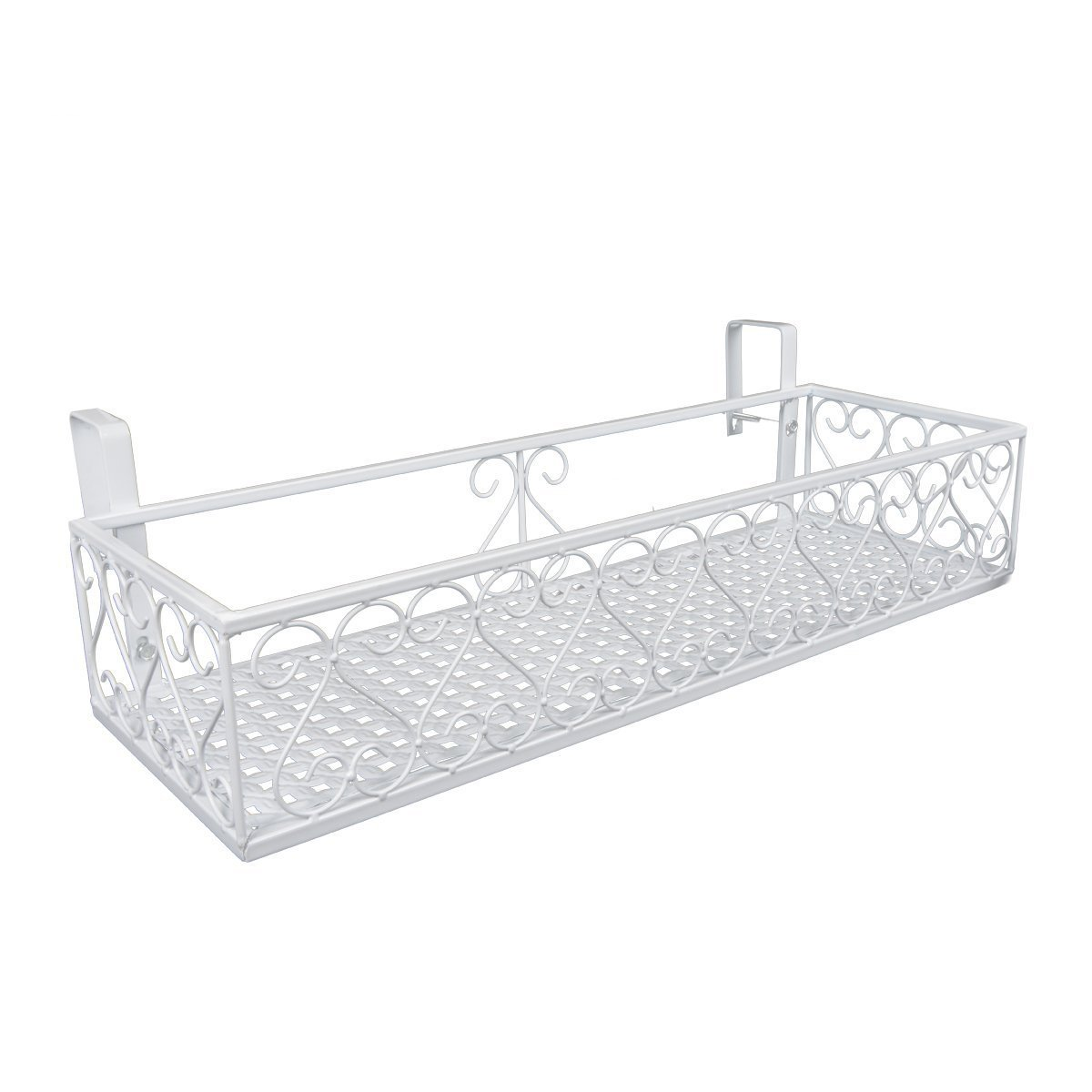 Saim Hanging Patio deck railing planter Flower Box Holder (White) by Saim