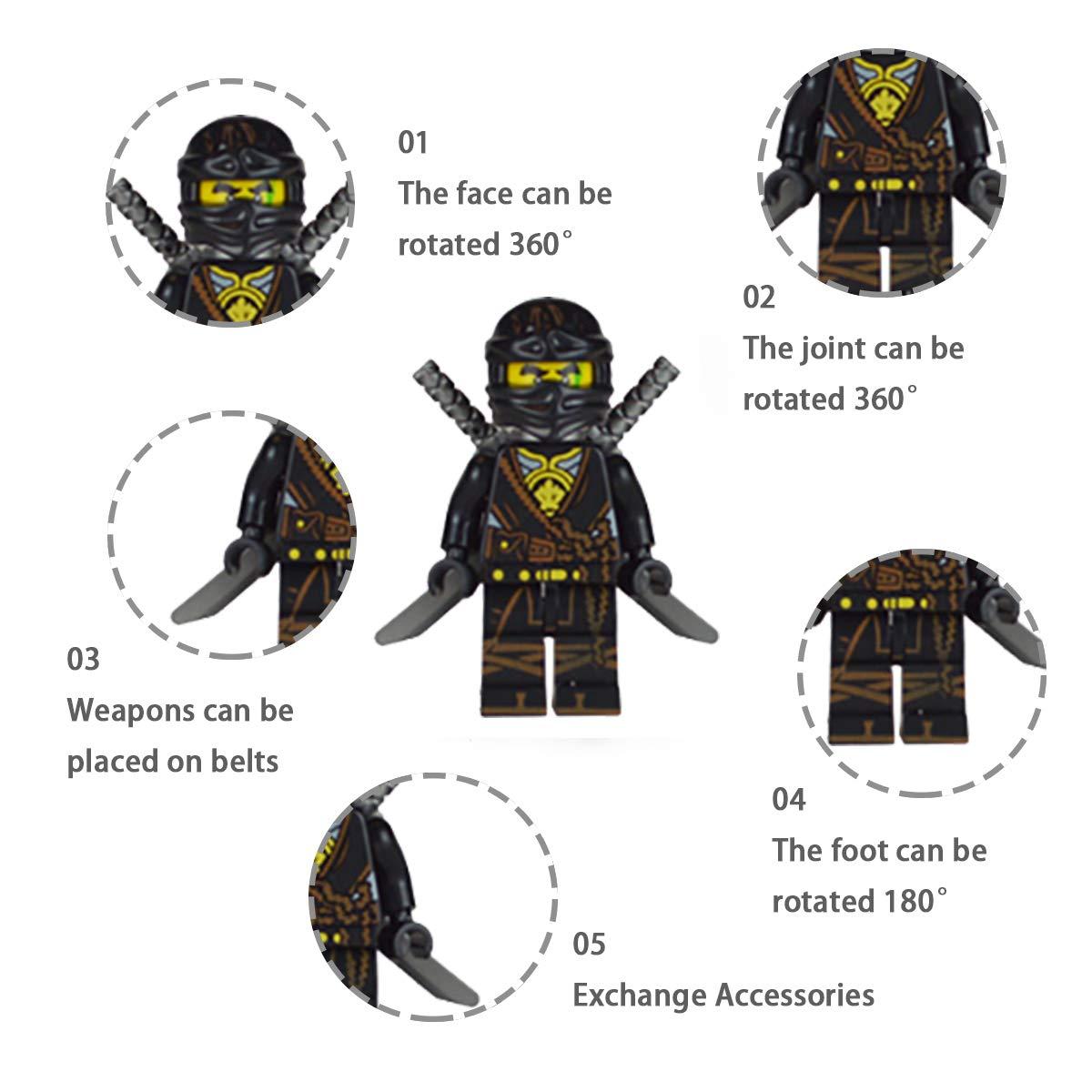 2 Tanks Building Bricks Ninja Figures Building Flash Chicken 20 Ninja Minifigures with Ninja Accessoies