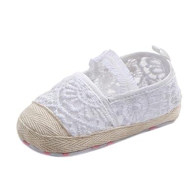 Longra Bébé Fille garçon Unisex Dentelle Ajourée Soles douces Couleur unie  Chaussures premiers pas (11 a5c1db761ad5